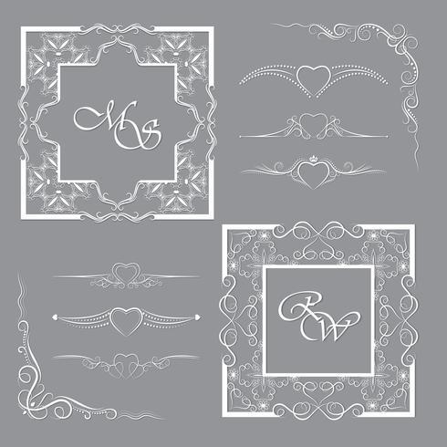 Samling av ramar och avdelare. Det kan användas för dekoration och design. vektor