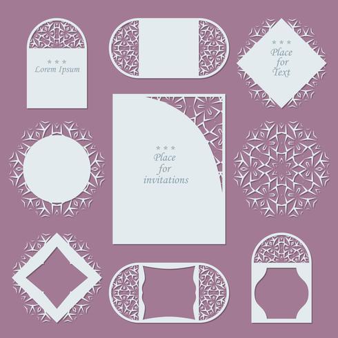 Inviti di nozze. Sfondo di pizzo con posto per il testo. Cornici di pizzo per decorazione e design.