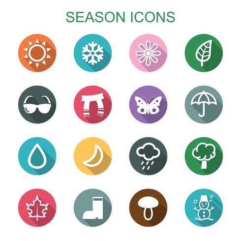 seizoen lange schaduw pictogrammen vector