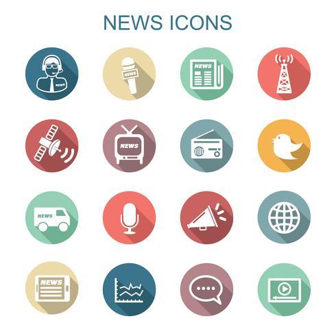 ícones de longa sombra de notícias vetor