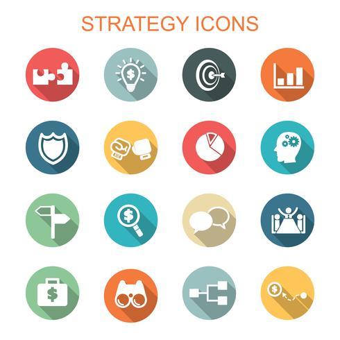 strategi långa skugga ikoner vektor