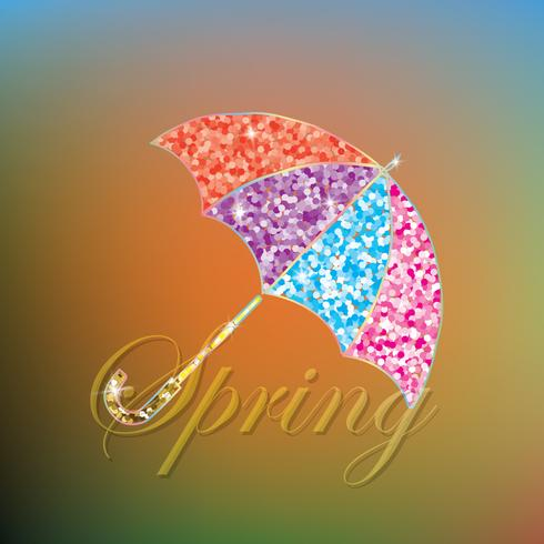 Colorful spring umbrella. Beautiful festive background.