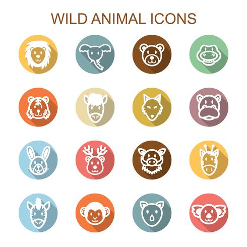 iconos de larga sombra de animales salvajes vector