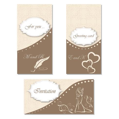Set invitation to a celebration. Stylish design for your holiday, wedding, birthday vector