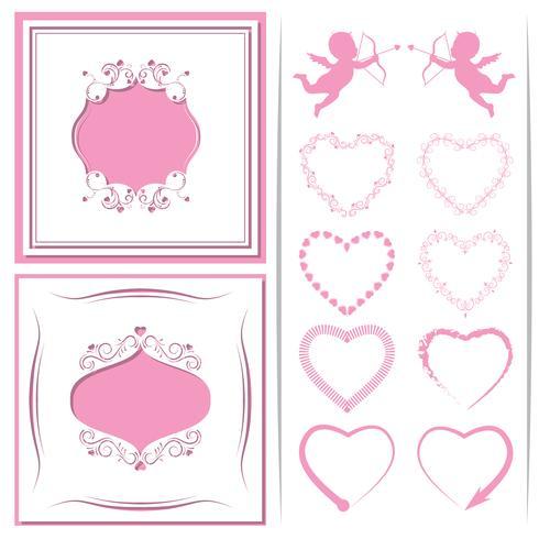 Eine Reihe von Papierschnitt-Rahmen. Satz Herzen zu den Amoren und zum Design. Vektor-illustration