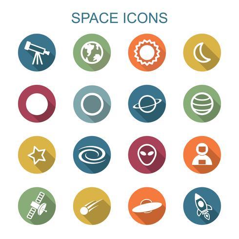 ruimte lange schaduw pictogrammen vector