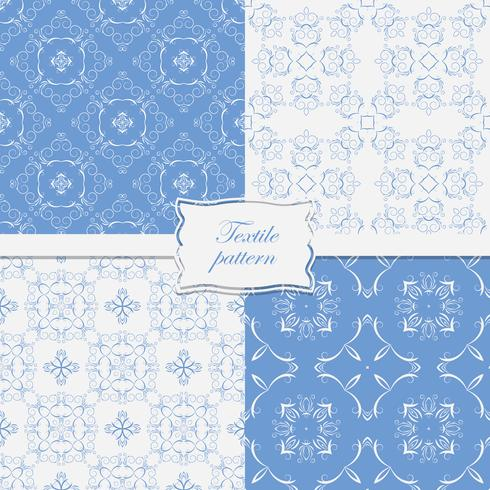 Set of 4 seamless patterns decorated with curly frame on the tape.