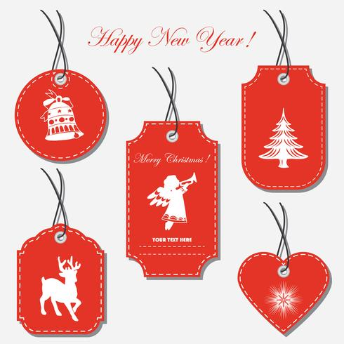 A set of Christmas tags, labels of different shapes.