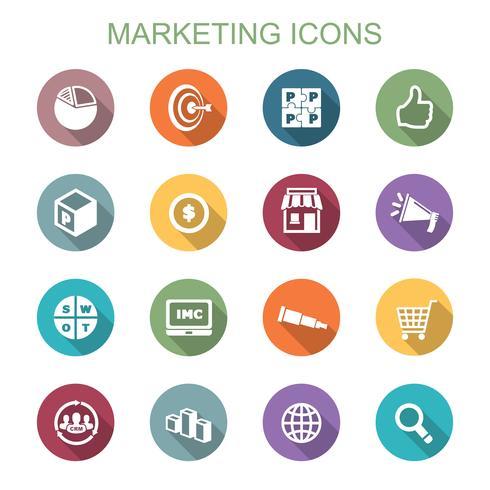 iconos de la larga sombra de marketing