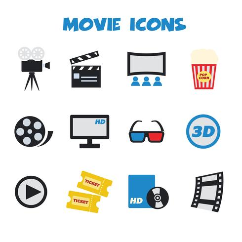 movie color icons vector