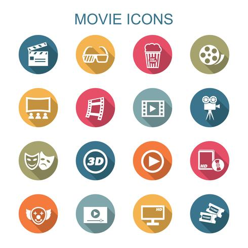 movie long shadow icons vector