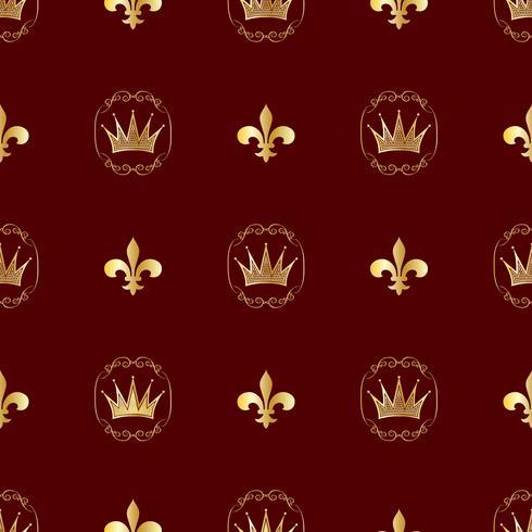 Patrón sin costuras Coronas y simbolos de la realeza. Fondo para tus ideas. Vector