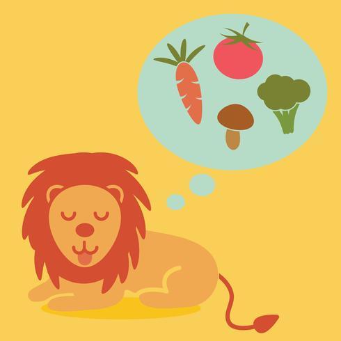 diseño plano de vector de león vegetariano