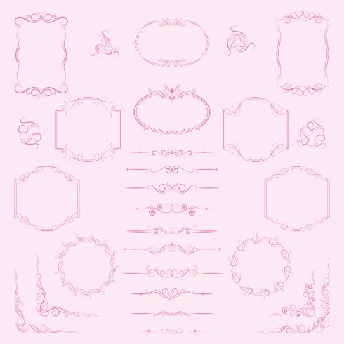 A large set of frames, borders, dividers for decorative use.