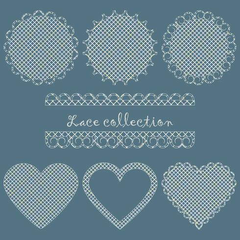 A collection of lacy napkins round and heart-shaped.