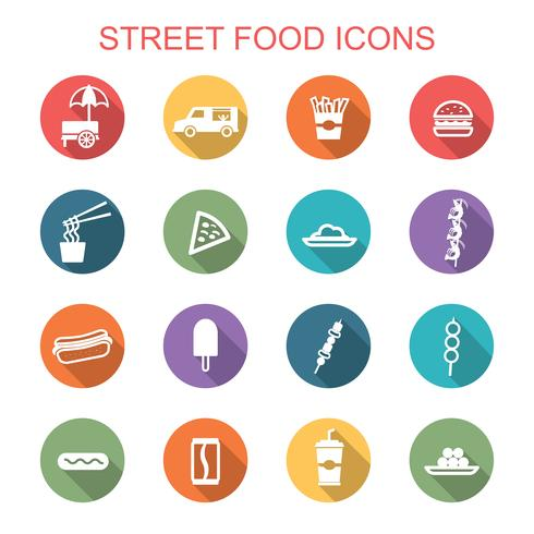 ícones de longa sombra de comida de rua