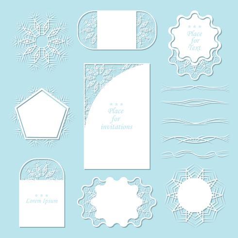 Juego de servilletas de encaje. Puede ser utilizado como marcos, diseño para etiquetas. Separadores registro tus ideas. vector