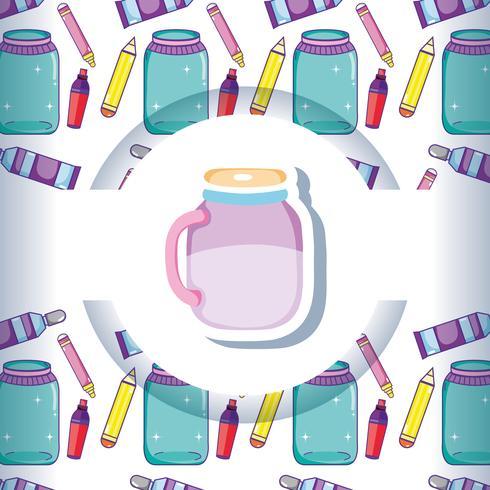 Mason jar with crafts pattern background