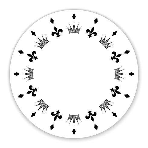 Decoratieve cirkel versierd met symbolen, kronen. Het kan worden gebruikt als een frame, label, tag, decoratie. Vector