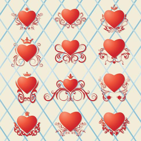 Collection of decorated hearts.