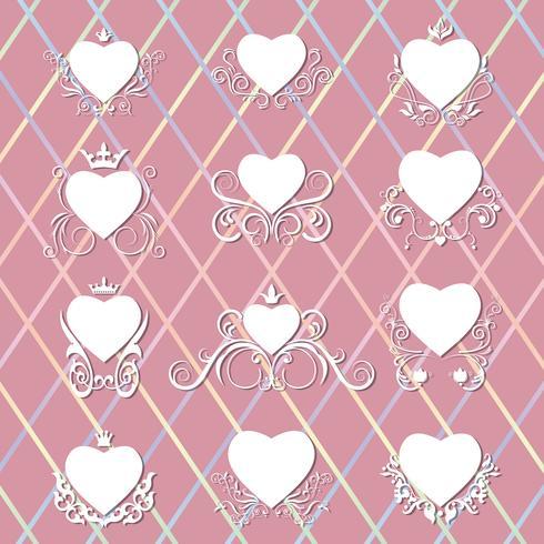 Collection de coeurs décorés.