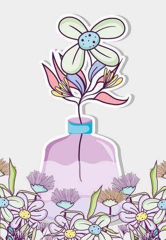 Mazzo di fiori in vaso barattolo di vetro vettore