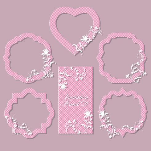 En uppsättning ramar, kort för firande. Det kan användas för bröllop, årsdag, födelsedag. Vacker design. vektor