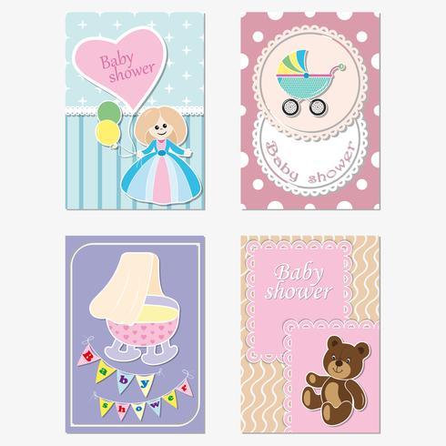 Um conjunto de cartões de saudação para crianças, convites. Vetor