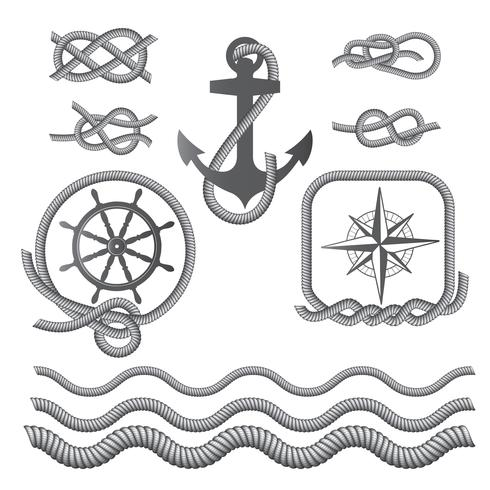 Marine symbols - a compass, an anchor, a rope knot, a rope. vector