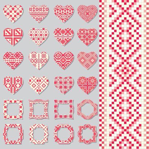 Set decoratieve kaders en harten in etnische stijl. Naadloze patroon