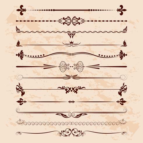 Gran conjunto de divisores. Vector de elementos de diseño caligráfico y decoración de página.