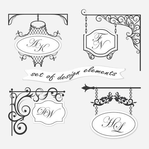 Set uithangborden. Kan worden gebruikt als een kader, tekens voor ontwerp en ontwerp.