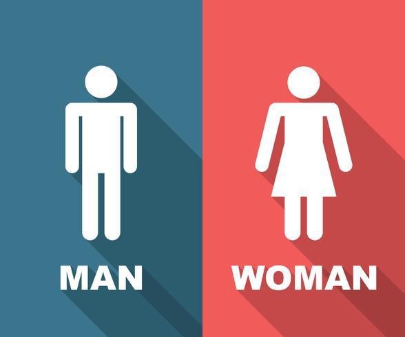 hombre y mujer larga sombra plana