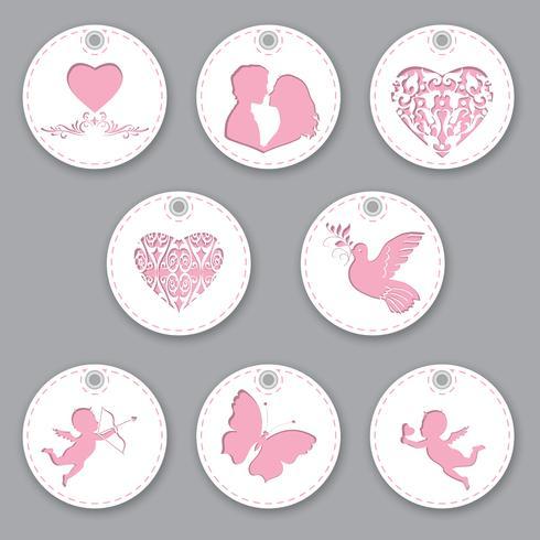 Set etiketten voor Valentijnsdag. Geïsoleerde objecten met verschillende decoratie op het thema liefde vector