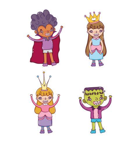 Set di cartoni animati di carattere hallooween