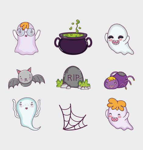 Set of halloween cartoons