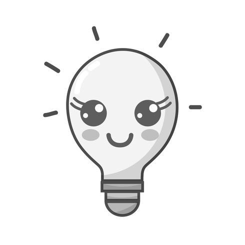 gråskala kawaii söt lycklig glödlampa idé