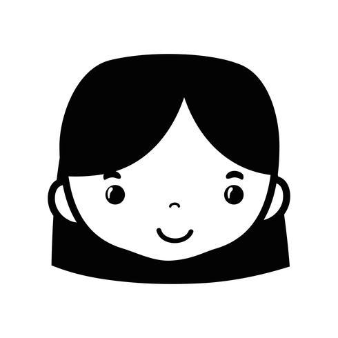 cabeça de mulher de avatar de contorno com design de penteado