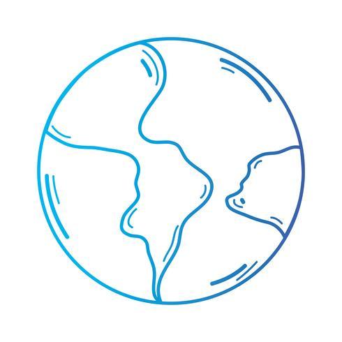 Línea mundial planeta tierra y ubicación geográfica. vector