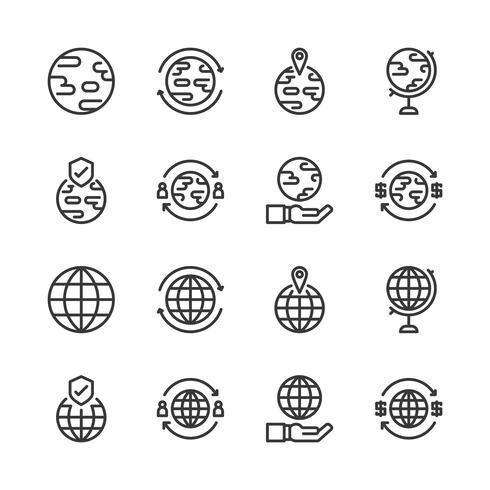 Conjunto relacionado global del icono. Ilustración del vector