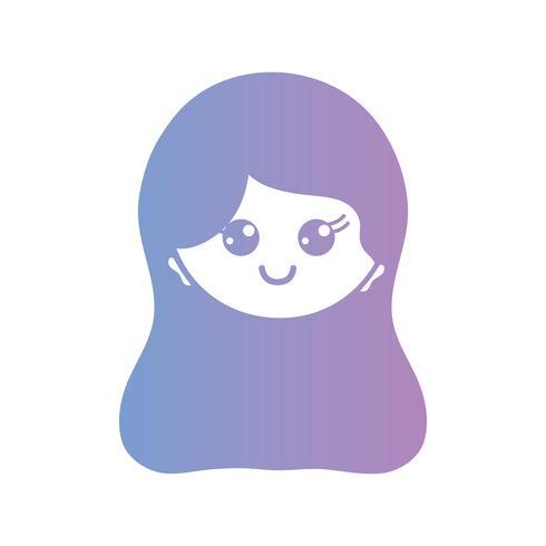 line avatar kvinna huvud med frisyr design