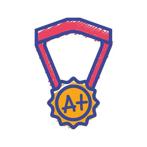 símbolo de medalha de escola para estudante inteligente