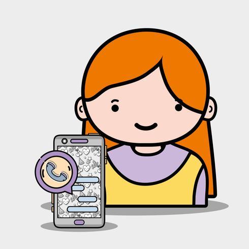 Chica con aplicación de teléfono inteligente para llamar y chatear.
