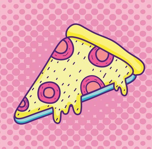 Desenhos animados de pizza pop art