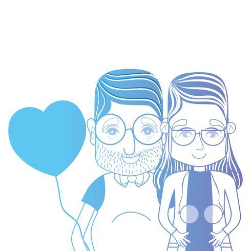 Línea pareja juntos con peinado y corazones globos vector