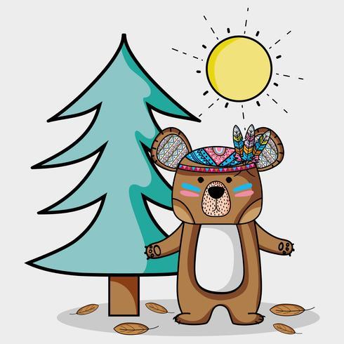 simpatico orso con piume nella foresta