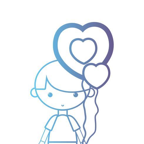 menino de linha com design de penteado e balão de coração
