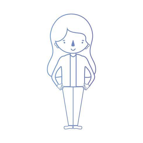 linea donna con acconciatura e vestiti