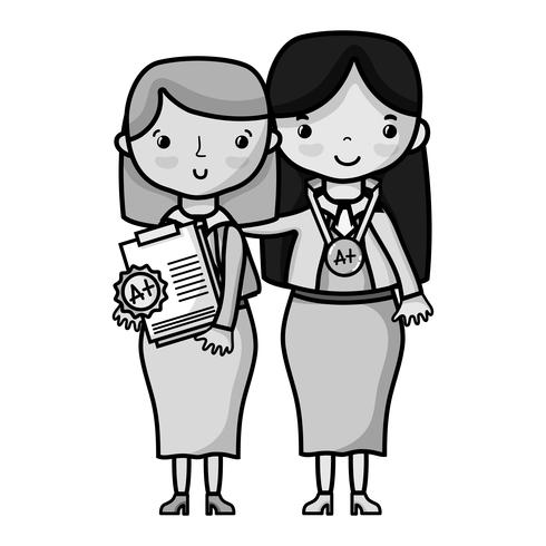 enseignant en niveaux de gris avec élève à la leçon d'éducation de classe