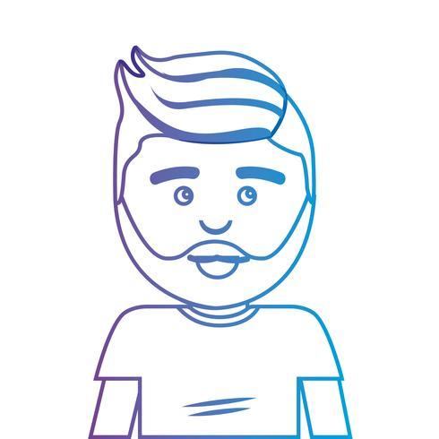 Línea hombre con peinado y camiseta de diseño. vector